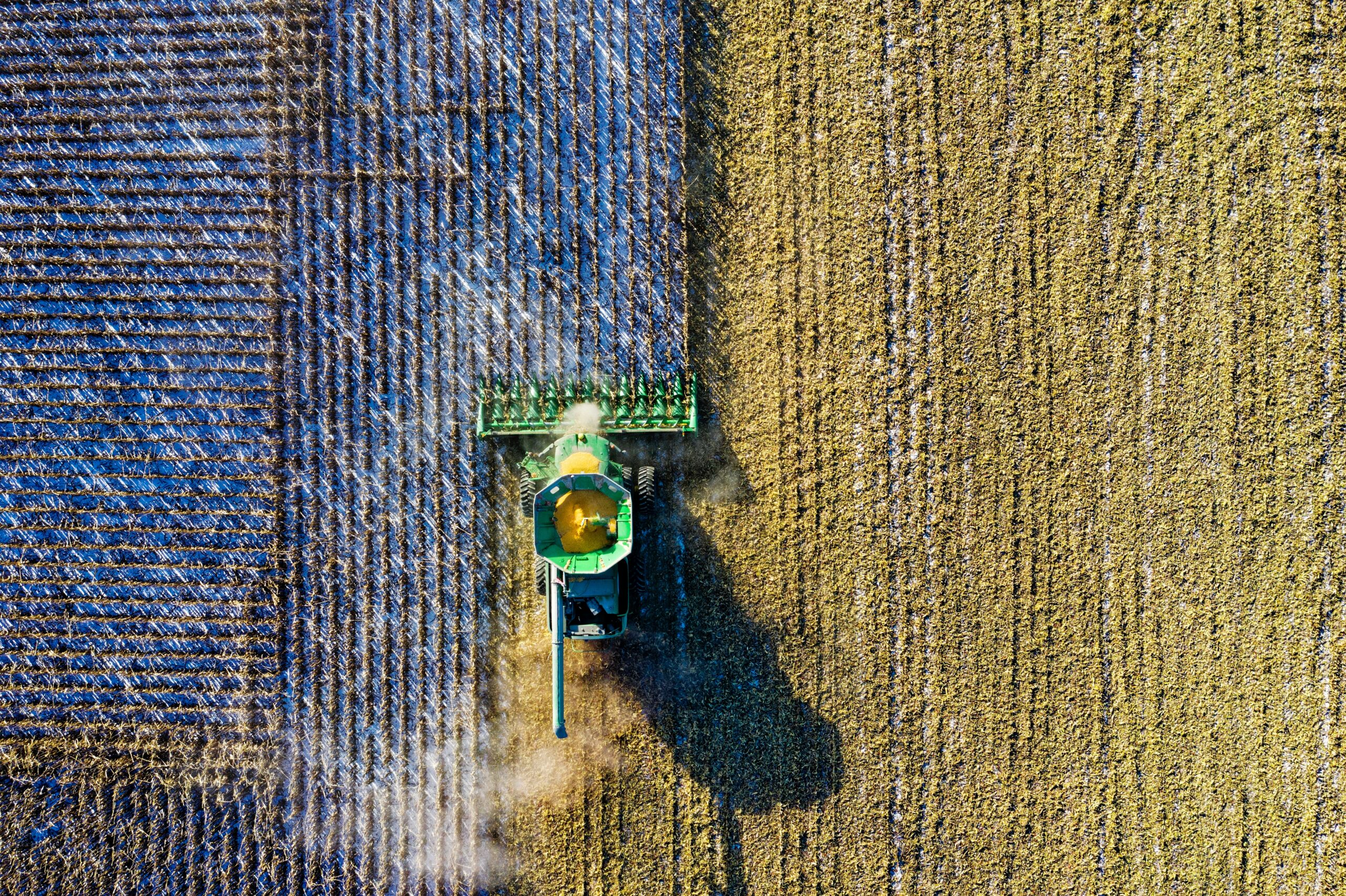 aerial shot of green milling tractor 1595108