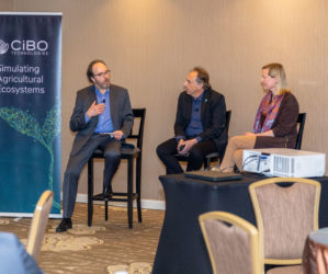 Jim Meigs, Former Editor in Chief of Popular Mechanics, led a panel discussion between Bruno Basso, Co-Founder of CiBO Technologies and Professor at Michigan State University, and Shari Rogge-Fidler, Chief Executive Officer of the FamilyFarms Group.
